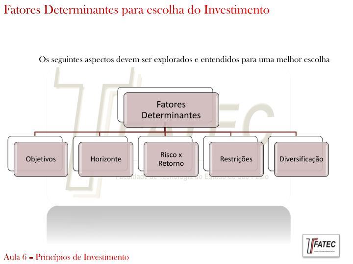 Fatores Determinantes para escolha do Investimento