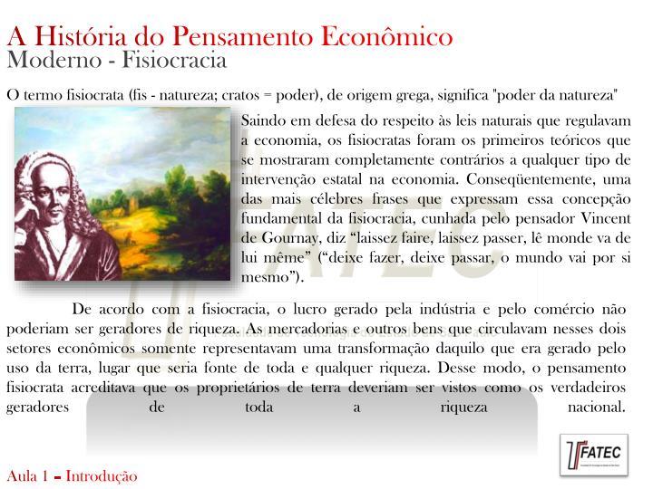 A História do Pensamento Econômico