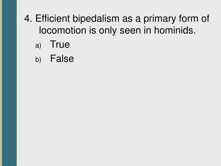 4. Efficient bipedalism as a primary form of locomotion is only seen in hominids.