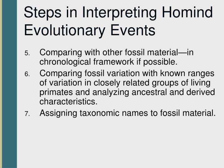 Steps in Interpreting Homind Evolutionary Events
