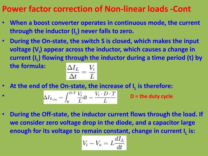 Power factor correction of Non-linear loads -Cont