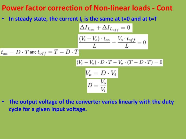 Power factor correction of Non-linear loads - Cont