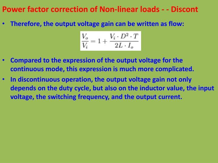 Power factor correction of Non-linear loads - - Discont