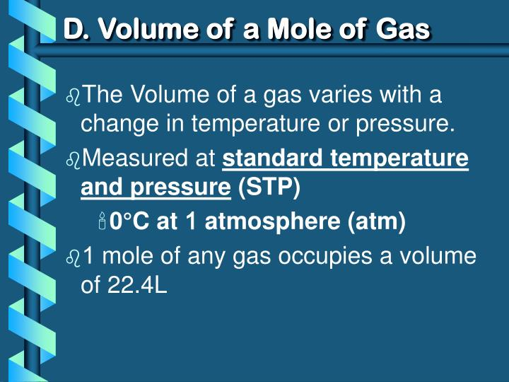 D. Volume of a Mole of Gas