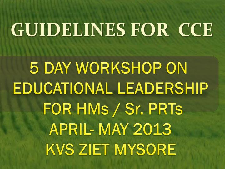 guidelines for cce n.