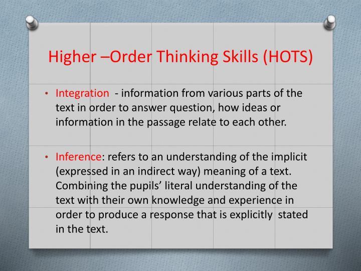 Higher –Order Thinking Skills (HOTS)