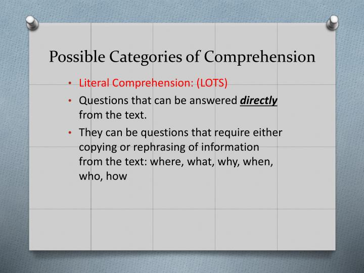 Possible Categories of Comprehension