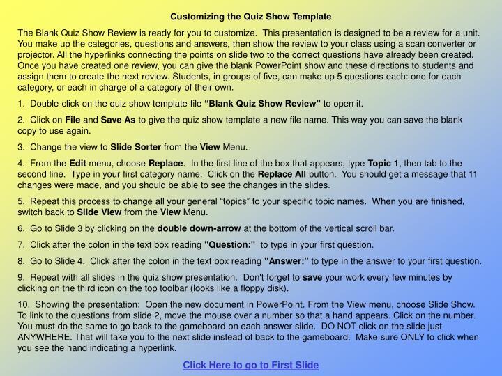 Customizing the Quiz Show Template