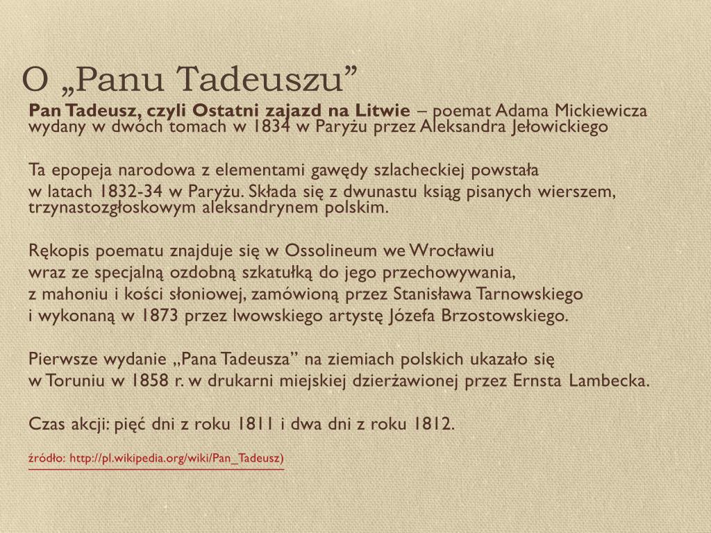 Ppt Pan Tadeusz Adama Mickiewicza Powerpoint