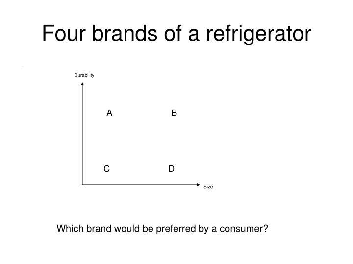 Four brands of a refrigerator