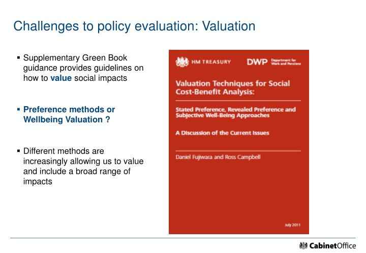 Challenges to policy evaluation: Valuation