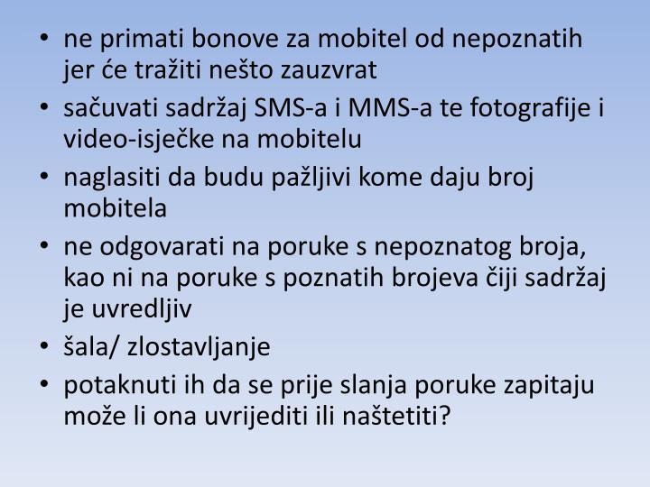 ne primati bonove za mobitel od nepoznatih jer će tražiti nešto zauzvrat