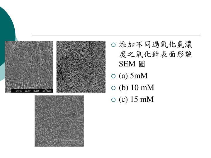添加不同過氧化氫濃度之氧化鋅表面形貌
