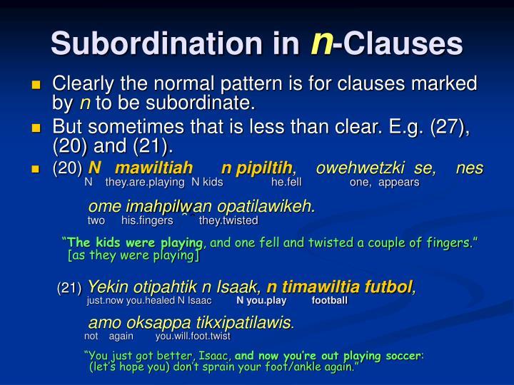 Subordination in