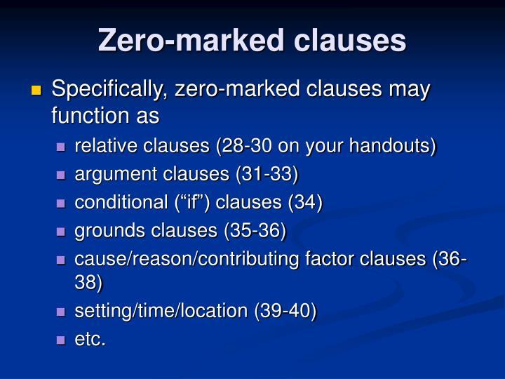 Zero-marked clauses