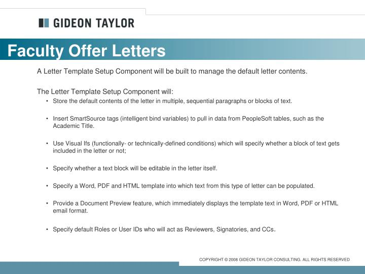 Faculty Offer Letters