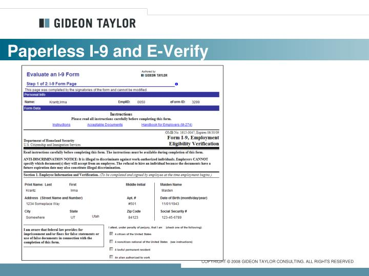 Paperless I-9 and E-Verify