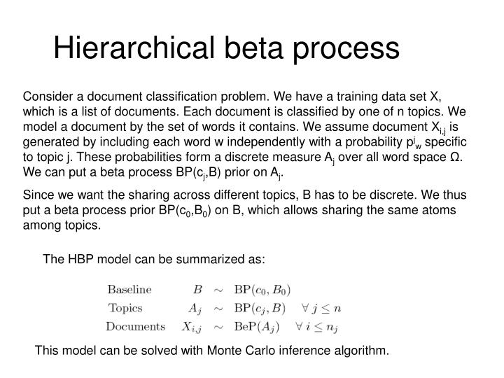 Hierarchical beta process