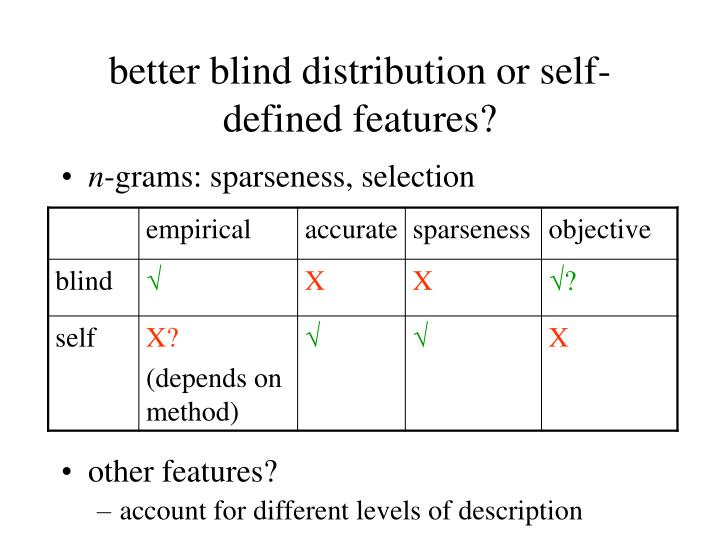 better blind distribution or self-defined features?