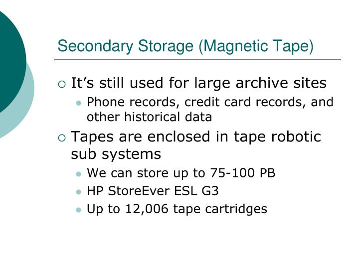 Secondary Storage (Magnetic Tape)