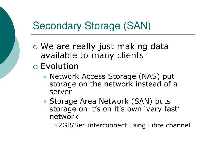 Secondary Storage (SAN)