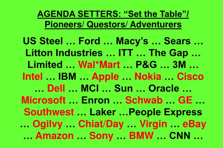 "AGENDA SETTERS: ""Set the Table""/ Pioneers/ Questors/ Adventurers"