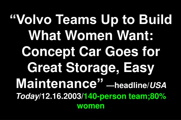 """Volvo Teams Up to Build What Women Want: Concept Car Goes for Great Storage, Easy Maintenance"""