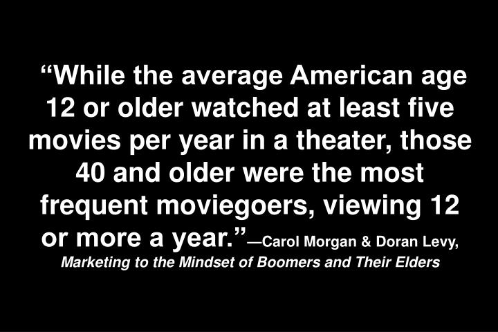"""While the average American age 12 or older watched at least five movies per year in a theater, those 40 and older were the most frequent moviegoers, viewing 12 or more a year."""
