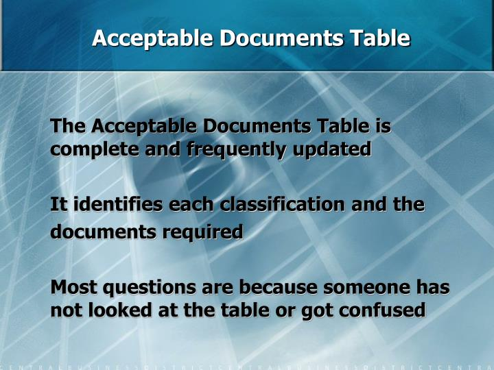 Acceptable Documents Table