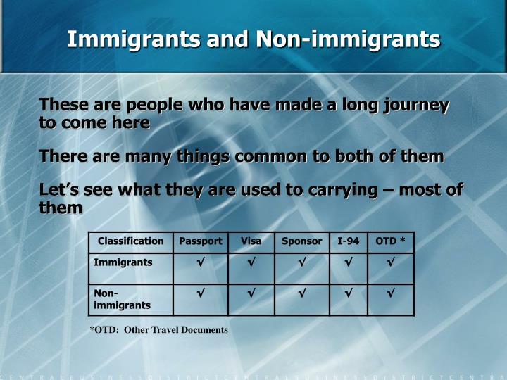 Immigrants and Non-immigrants