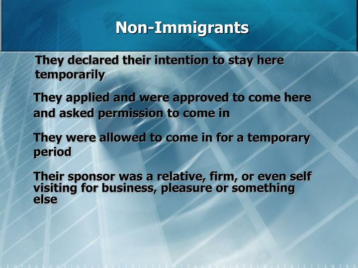 Non-Immigrants