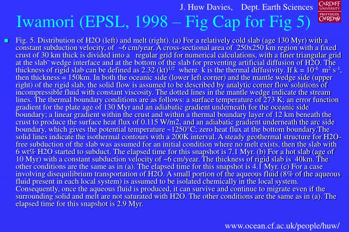 Iwamori (EPSL, 1998 – Fig Cap for Fig 5)