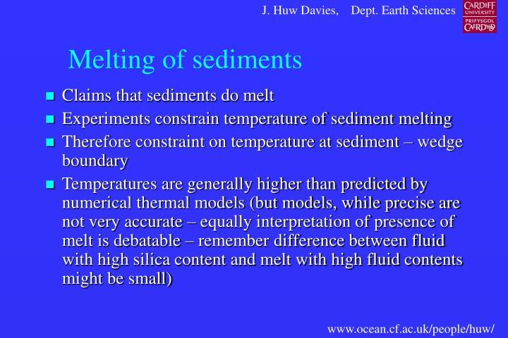 Melting of sediments