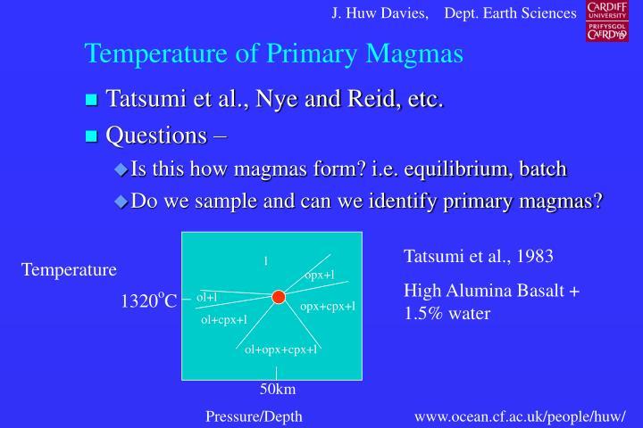 Temperature of Primary Magmas