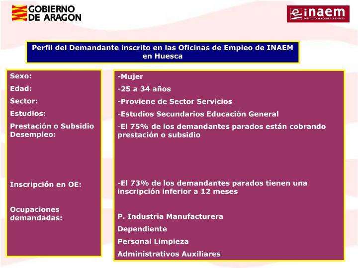 Perfil del Demandante inscrito en las Oficinas de Empleo de INAEM en Huesca