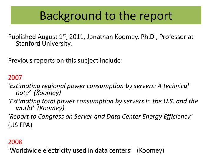 Background to the report