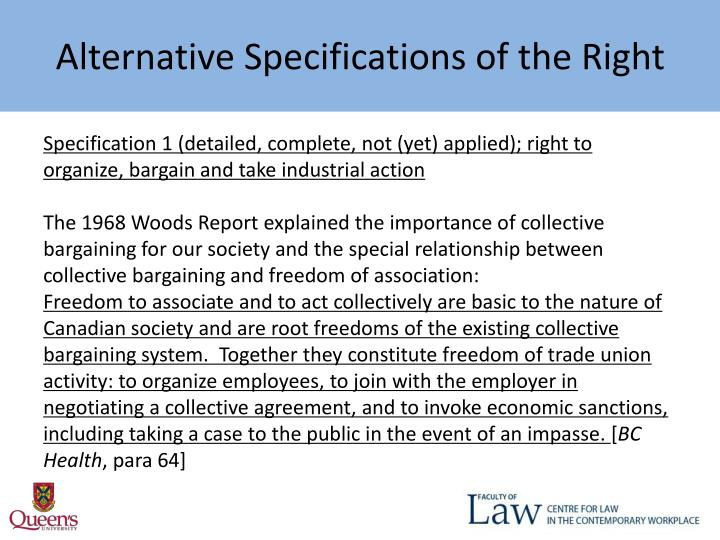 Alternative Specifications of the Right