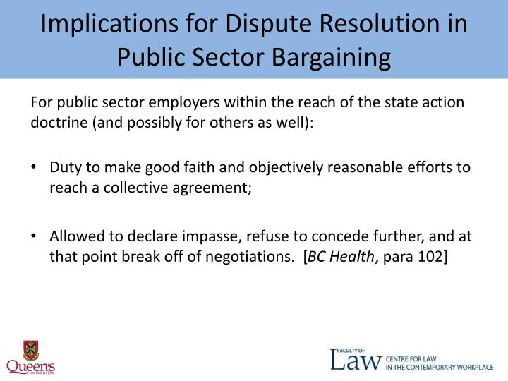 Implications for Dispute Resolution in Public Sector Bargaining