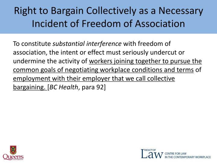 Right to Bargain Collectively as a Necessary Incident of Freedom of Association