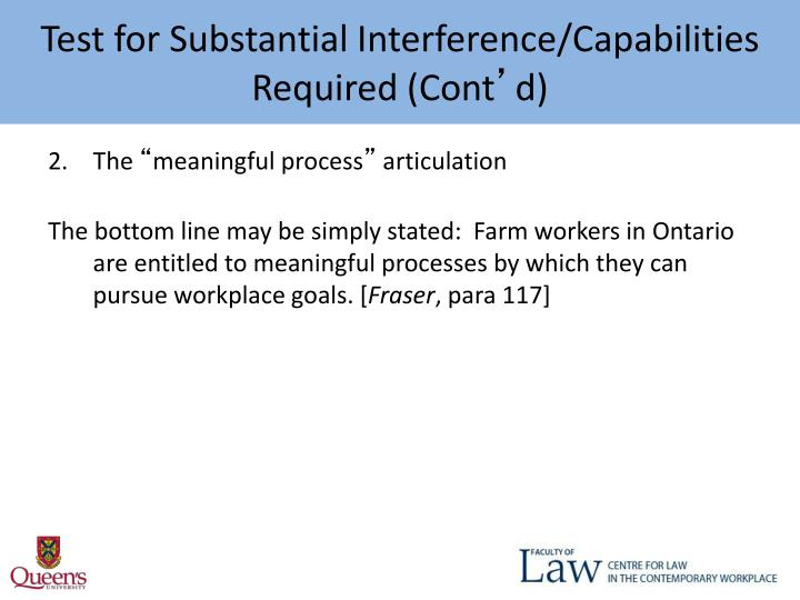 Test for Substantial Interference/Capabilities Required (Cont