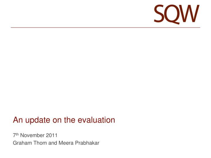an update on the evaluation n.