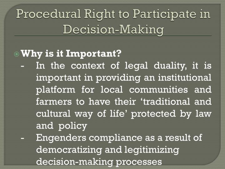 Procedural right to participate in decision making