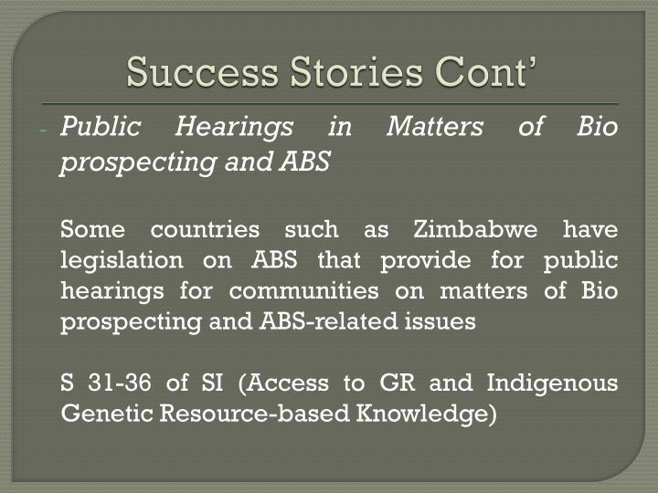 Success Stories Cont'