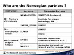 who are the norwegian partners