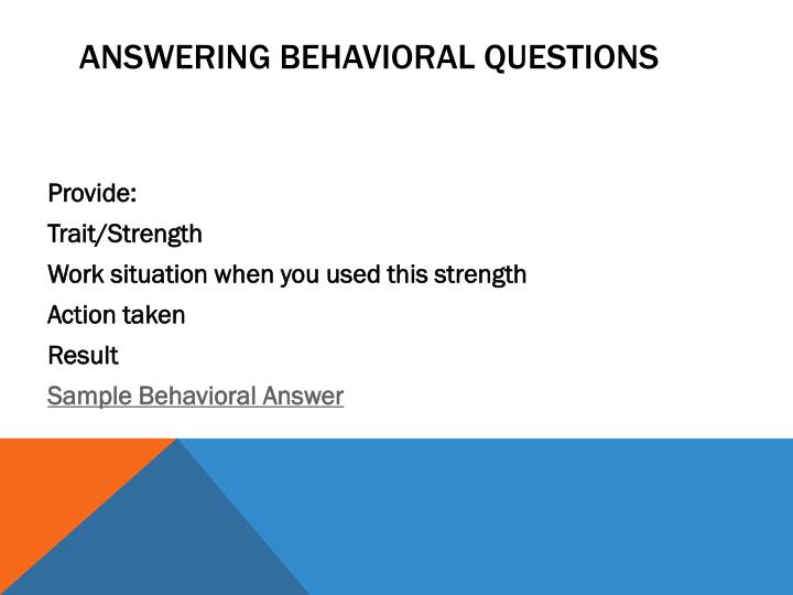 Answering Behavioral Questions