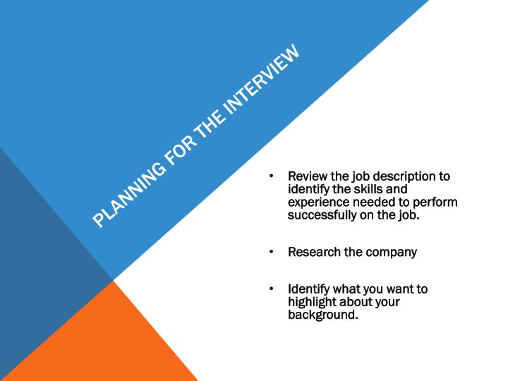 Planning for the Interview
