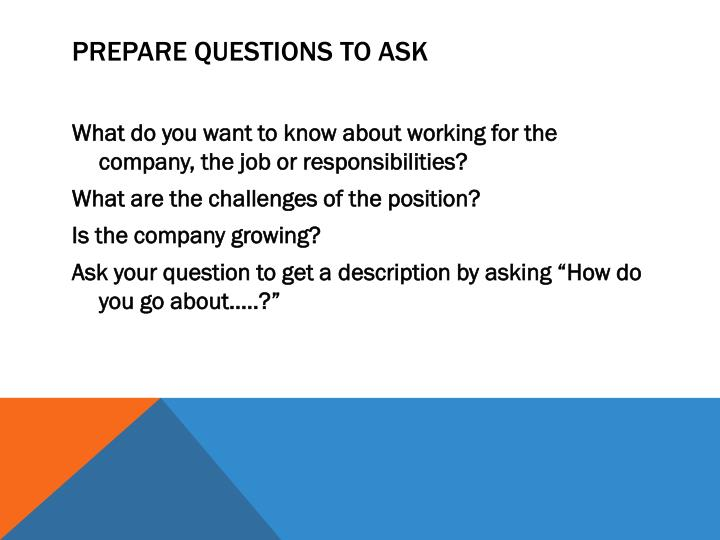 Prepare Questions To Ask