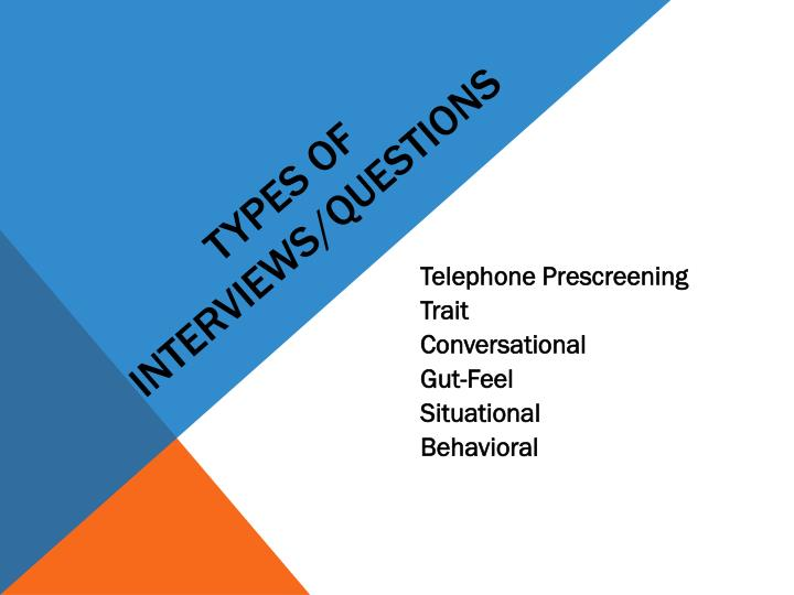 Types of Interviews/Questions