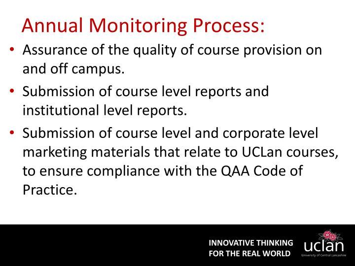 Annual monitoring process