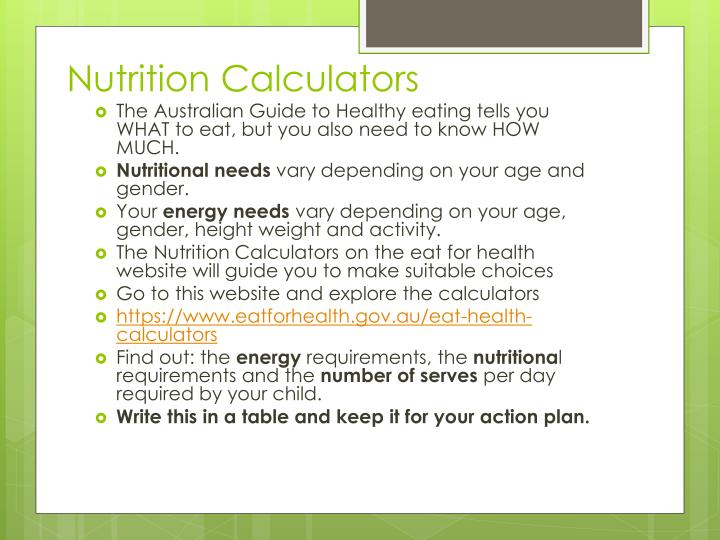 Nutrition Calculators